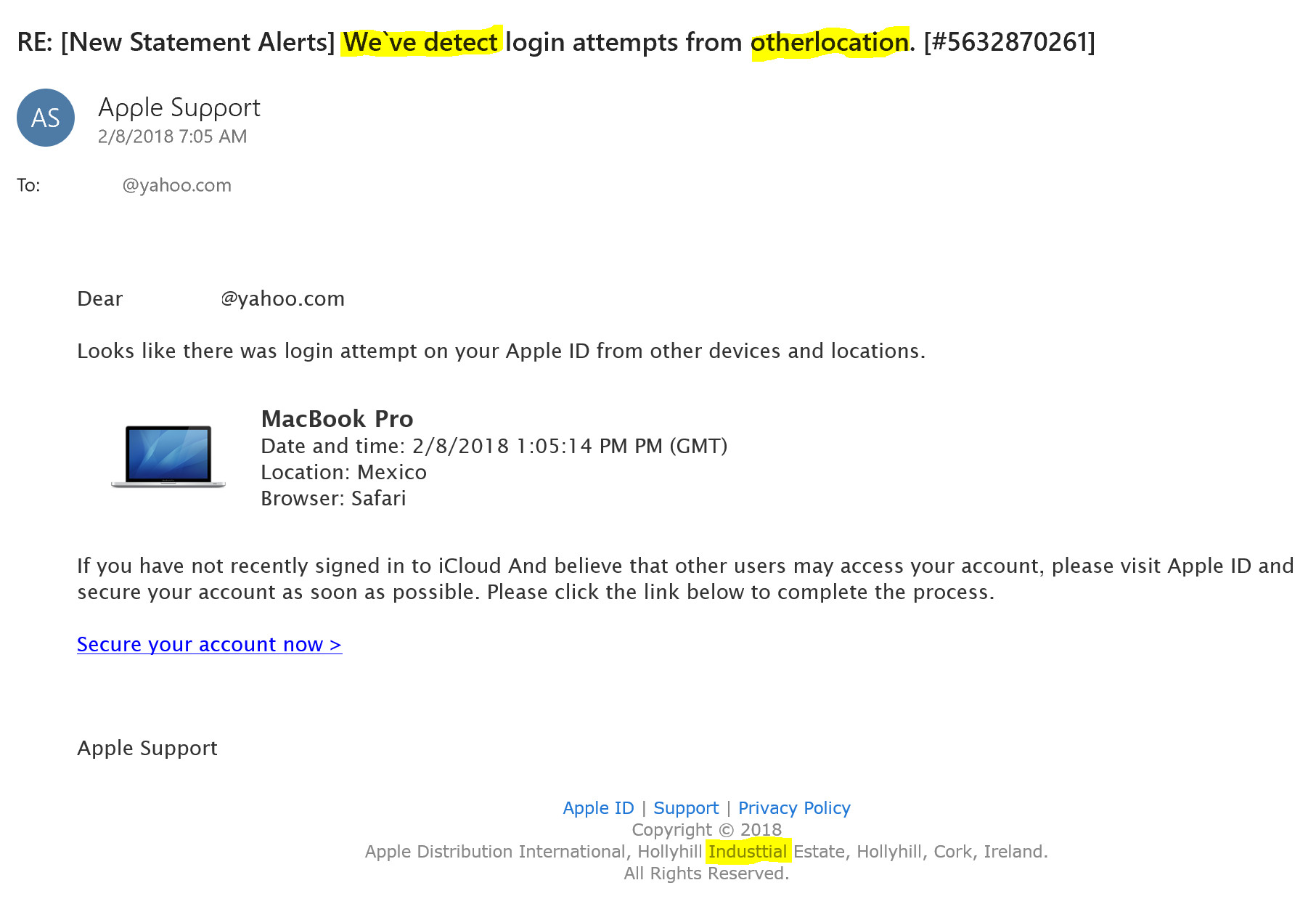 apple email scam example 2